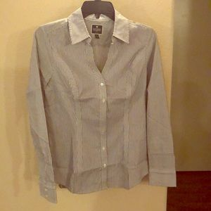 [express] stripped collared long sleeve shirt